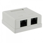 4world Socket 2x RJ45, cat.5e, complete, white