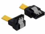 Delock Cable SATA 6Gb/s 30cm angled down/straight (metal studs) yellow