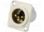Amphenol AC3MMDZ-AU / Socket; XLR; male; PIN:3; straight; turned contacts
