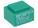 Breve tufvassons TEZ1.5/D230/15-15V / Transformer: encapsulated; 1.5VA; 2