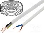 Cable; YDY; round; solid; Cu; 2x2,5mm2; PVC; white; 450/750V; 100m