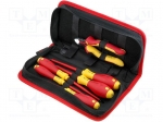 Wiha 33969 / Set: pliers and screwdrivers; Pcs:6; Package: bag; 1kVAC