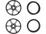 Pololu WHEEL W/INSERTS FOR 3MM AND 4MM SHAFTS / Wheel; black; Shaft: smoo