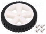 Dfrobot FIT0500 / Wheel; white, black; Shaft: two sides flattened; Pcs:1;